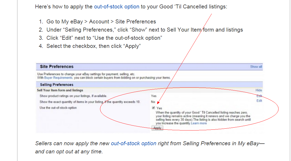 eBay OutofStockOption Setup